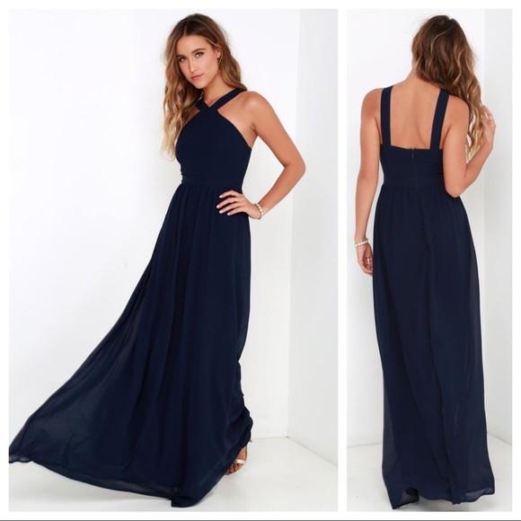 9c87576fdc Lulu s Dresses   Skirts - Lulu s Air of Romance Navy Blue Maxi Dress Formal